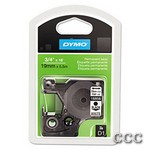 DYMO D1 PERMANENT LABELS - BLACK/WHITE 3/4