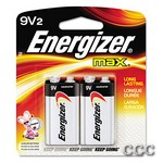 ENERGIZER 522BP MAX - 2PK 9V BATTERIES, 9V2
