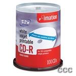 IMATION CD-R WRITE ONCE - 100PK 52X INK PRINT WHT, 17334